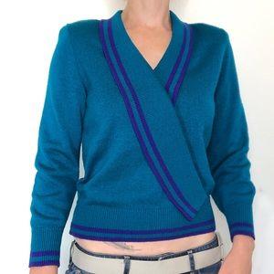 Vintage Vivanti Knit Turquoise/Purple V-Neck